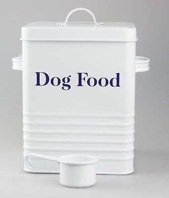 Vintage Style White DOG FOOD TIN Box Container For Dy Food Pouches or Treats etc