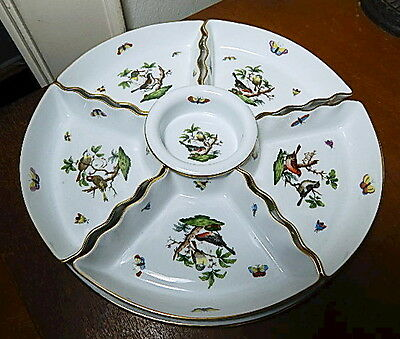 Herend ROTHSCHILD BIRD 7 Piece Hors d Oeuvres, Relish Tray, Mint!!