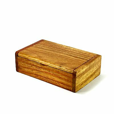Wooden Box Handmade Trinket Storage Keepsake Jewelry Name Card Holder Gold