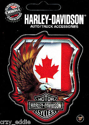 TWO (2) HARLEY DAVIDSON CANADIAN FLAG AND AMERICAN EAGLE DECAL SET OF 2 DECALS