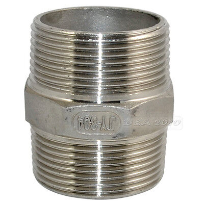 "1-1/2""Male x 1-1/2""Male Hex Nipple Stainless Steel 304 Threaded Pipe Fitting BSP"