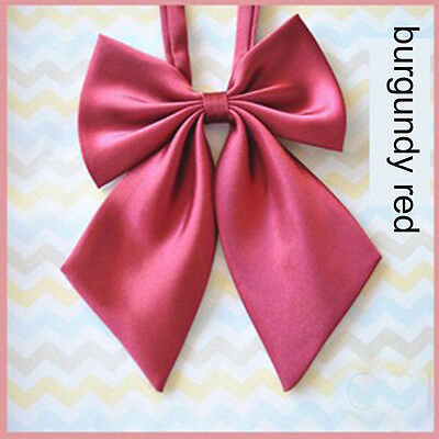 Women Girl Sailor School Pre-tied Satin Bowtie Bow Neck Tie Cravat Burgundy Red