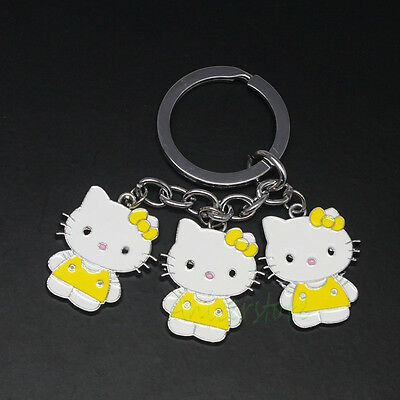 10pcs Hello Kitty Cute Gift 3 Small Cat Metal Bag Pendant Keyring Keychain