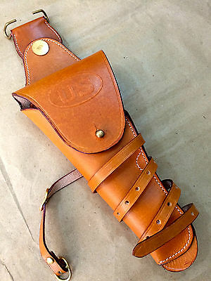 """US WWI """"LEFT HAND"""" M1912 Leather Pistol Holster BROWN - Repro"""