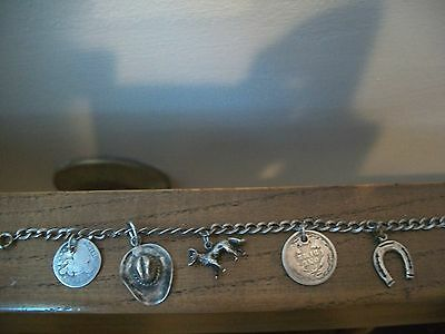 1940's 50's Sterling Silver Western Charm Bracelet-5 Charms!