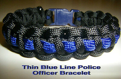 Thin Blue Line Police Officer Paracord 550 Bracelet, Military, Survival