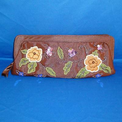 Chocolate Brown Embellished Floral Clutch Purse / Makeup Bag - NEW