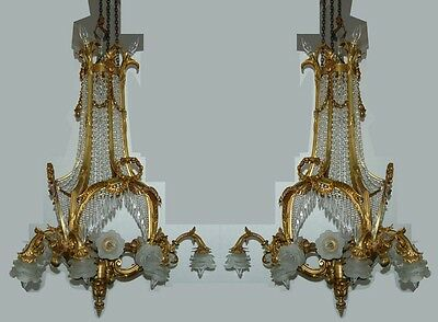 Pair of Antique 19th C. French Doré Bronze & Crystal Chandeliers #7550