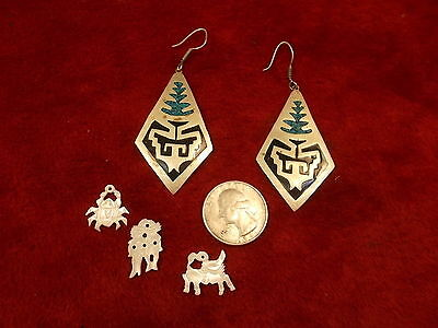Pair Of Old Vtg Aztec, Mexican Turquoise & Enamel? Earrings, ++++Mother Of Pearl