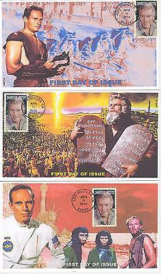 Jvc Cachets - Set Of 3 -2014 Charlton Heston First Day Covers Fdc Movies Topical
