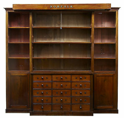 Rare 19Th Century Mahogany Breakfront Bookcase With Norfolk Map