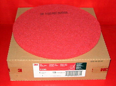 3M 5100 19 Inch Diameter Red Buffer Floor Pad, 5/Case Free Shipping