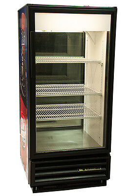 True GDM-10 Commercial Double Sided Glass Door Refrigerator Dr Pepper Graphic