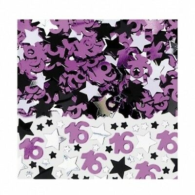 SWEET SIXTEEN 16 PINK AND BLACK TABLE CONFETTI BIRTHDAY PARTY - 14G BAG!
