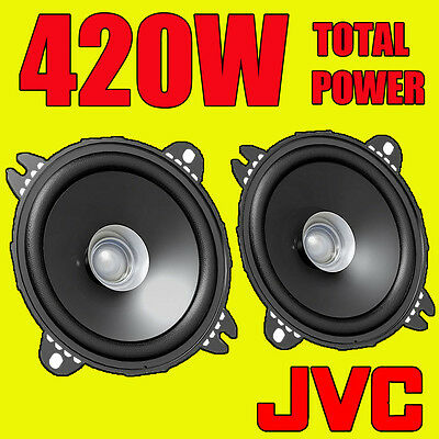 JVC 420W TOTAL 4 INCH 10cm DUAL-CONE CAR DOOR/SHELF COAXIAL SPEAKERS NEW PAIR
