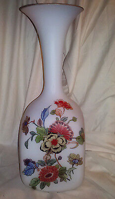 Norleans Beautiful Frosted White Glass Floral Vase Made In Italy