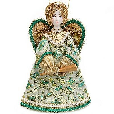 Angel with Trumpet Turquoise Collectible Doll Porcelain Face Hand Painted Russia