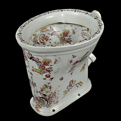 Rare Decorated Toilet Bowl -Bowl Interior & Exterior Decorated with Leaves #6414