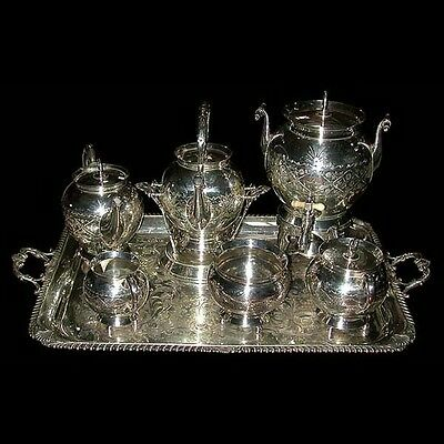 Monumental 19th C. American Eastlake 7-Pc. Silver Plate Tea Set #6148