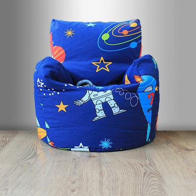 Children's Beanbag Chair Space Boy Planet Rocket Kids Bedroom Furniture Bean Bag