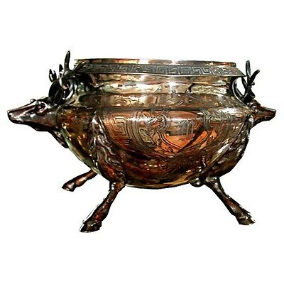 Antique Silver Plate Tureen, with Deer Head #3448