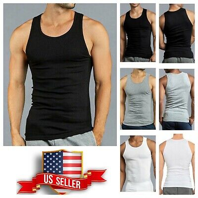 39ba23067484 3 6 PACK T-Shirt Tank Top COTTON A-Shirt Wife Beater Ribbed Fitness