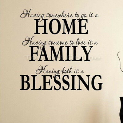 Home Family Blessing English Quote Wall Sticker Decal Removable Mural Decoration