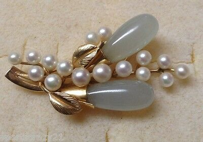 Vintage Ming's Hawaii Jewelry Jade and Pearl Brooch 14K Gold Estate Sale 15.7 g