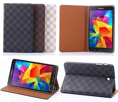 Luxury Deluxe Grid Leather Stand Case Cover For Samsung Galaxy Tab 4 8.0 SM T330