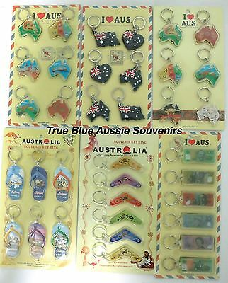 24x Australian Souvenir Themed Keyrings - 6 Designs To Choose From!