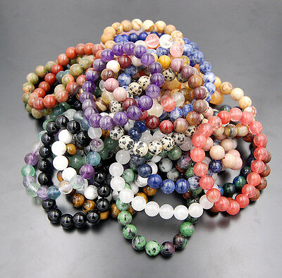 """Wholesale 10mm Natural Nature Round Beads Stretchy Bracelet 7""""/7.5""""/8""""/8.5"""""""