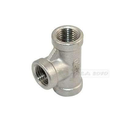 "1/4"" Tee 3 way Female Stainless Steel 304 Threaded Pipe Fitting BSPT NEW"