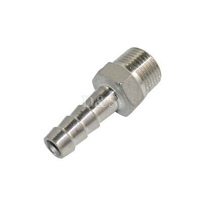 """1/4"""" Male Thread Pipe Fitting x 6mm Barb Hose Tail Connector Stainless Steel BSP"""