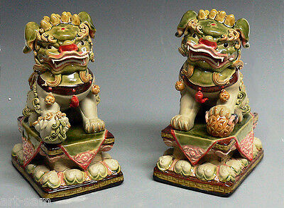 11 Quot Chinese Feng Shui Fu Foo Dog Guardian Lions Ceramic Statue Color Glazed