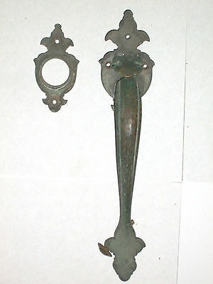 Antique Door Handle and Matching Lock Cylinder Plate