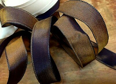 """VINTAGE 5/8"""" FRENCH RIBBON wire SOLID 1yd BLUEISH BRONZE Made in France"""