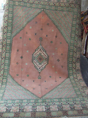 ORIGINAL ANTIQUE MOROCCAN WOOL CARPET RUG HAND MADE 268x173-cm/105.5x68.1-inches