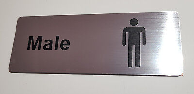 MALE TOILETS - ENGRAVED DOOR SIGN - silver/black 12cm x 4.5cm