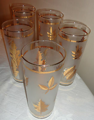 VINTAGE SET OF 4 GLASS FROSTED WITH GOLD LEAF DESIGN AND TRIM 5 DRINKING GLASSES