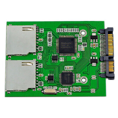 2 Port Dual SD SDHC MMC RAID to SATA Adapter Converter, No SD Card Size Limit US