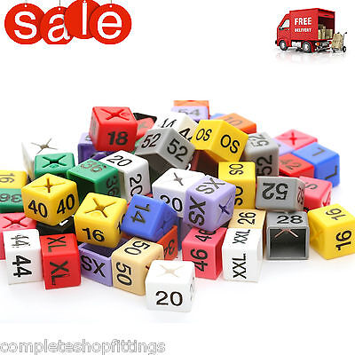 100x SIZE CUBE COAT HANGER MARKERS COLOURED LETTERED CUBES GARMENT CLOTHES MARKE