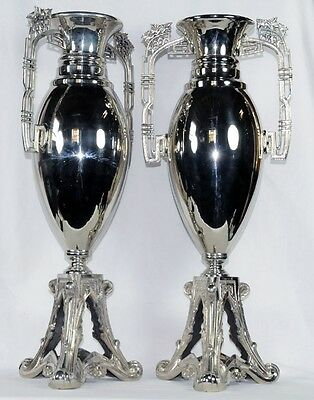 Pair of Art Noveau WMF Silver Plated Vases #7013