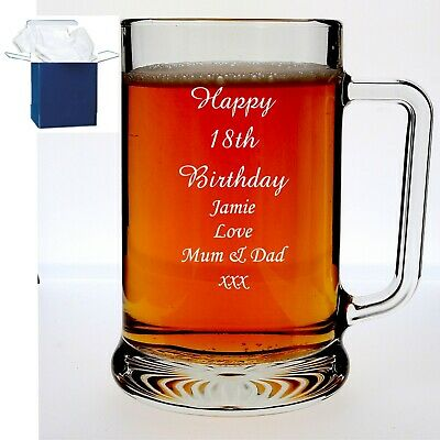 Personalised Beer Glass Tankard 18th 21st 30th Birthday Free Gift Box
