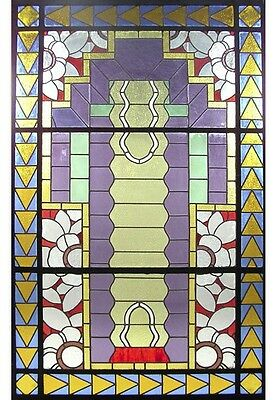 Unusual Asymmetrical Art Deco Leaded & Stained Glass Window #6406