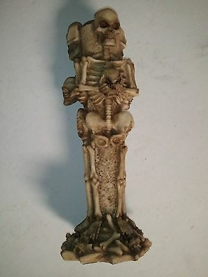 """#096 TRIPLE SKELETON Taper candle holder 7.5"""" Tall x 2.5"""" around NEW"""