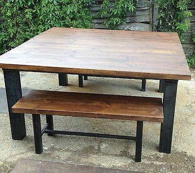 Industrial Chic Retro Dining Table and Bench Set