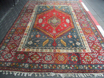 ORIGINAL ANTIQUE MOROCCAN WOOL CARPET RUG HAND MADE 360x220-cm/141.7x86.6-inches