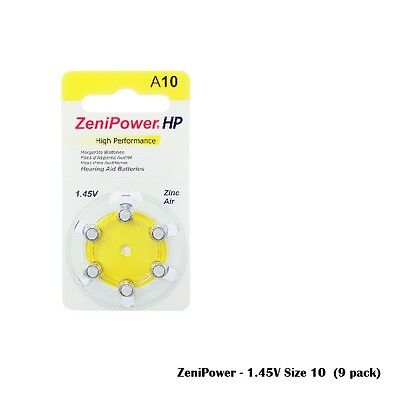 Zenipower 1.45V Hearing Aid Batteries Size 10 (54 Batteries Total)