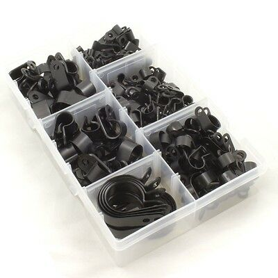 Nylon Black Plastic P Clips for Wire, Cable, Conduit. Assorted Box 200 Pieces