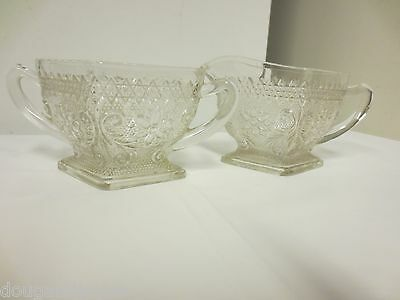Indiana Sandwich Glass Creamer and Open Sugar Bowl-Footed, Handled Diamond Shape